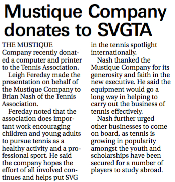 News article Mustique Co donation 2